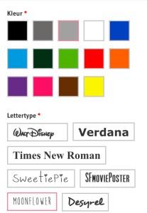 What's on mama's mind kleuren en lettertype