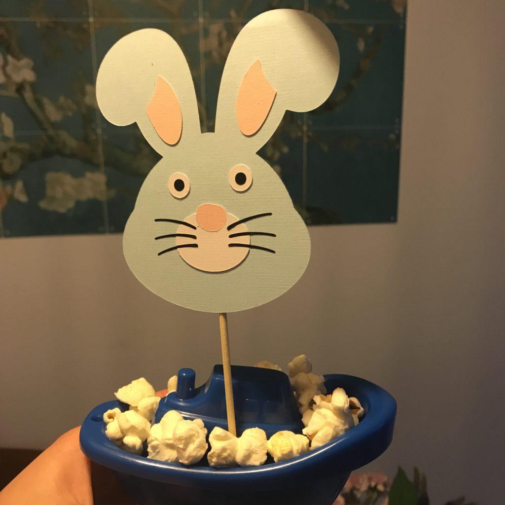 traktatie konijnen bootjes popcorn