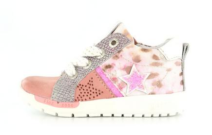 Shoesme roze sneaker met roze leopardprint