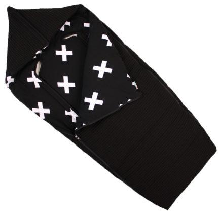 Voetenzak buggy zwart witte kruisjes