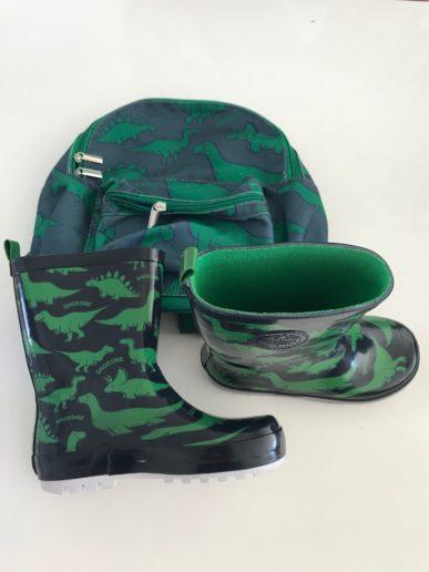 Shoesme regenlaars dinosaurus en rugzak