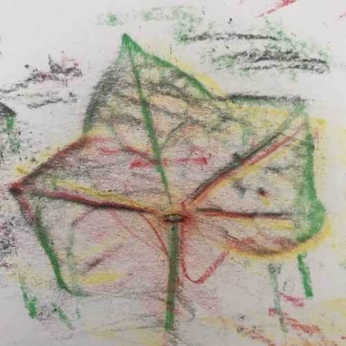 waskrijtjes herfstbladeren maken
