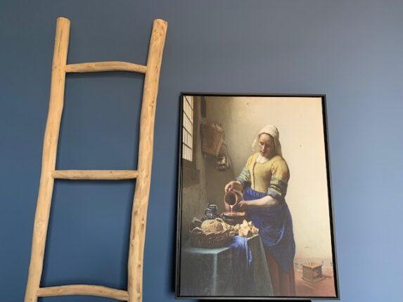 Het melkmeisje op canvas