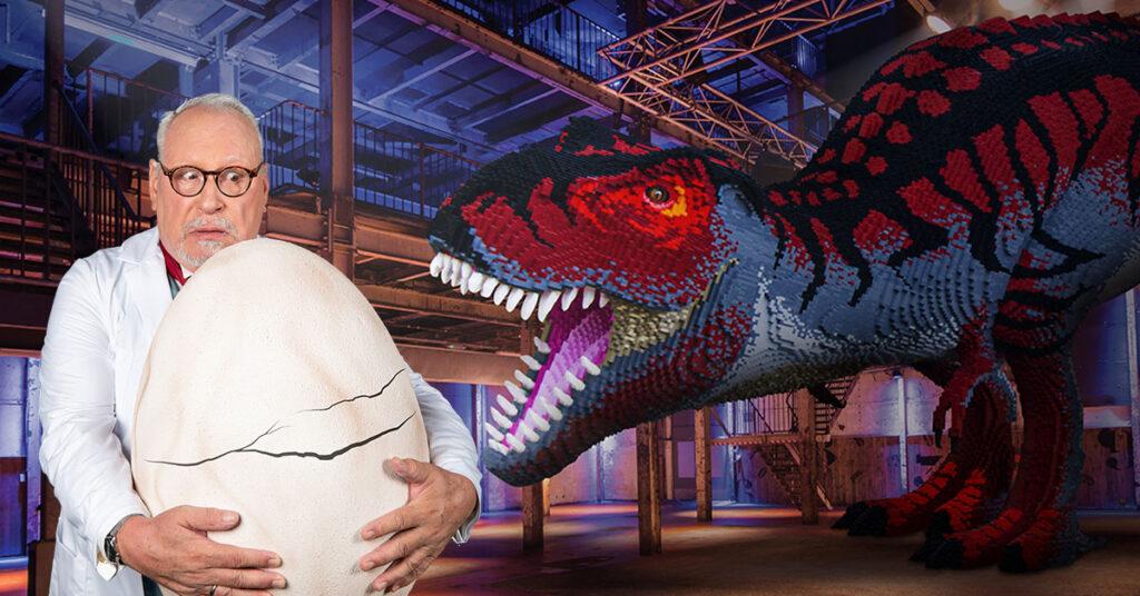 de Dino Fabriek met T-Rex van 5,5 meter bestaande uit 243337 bricks